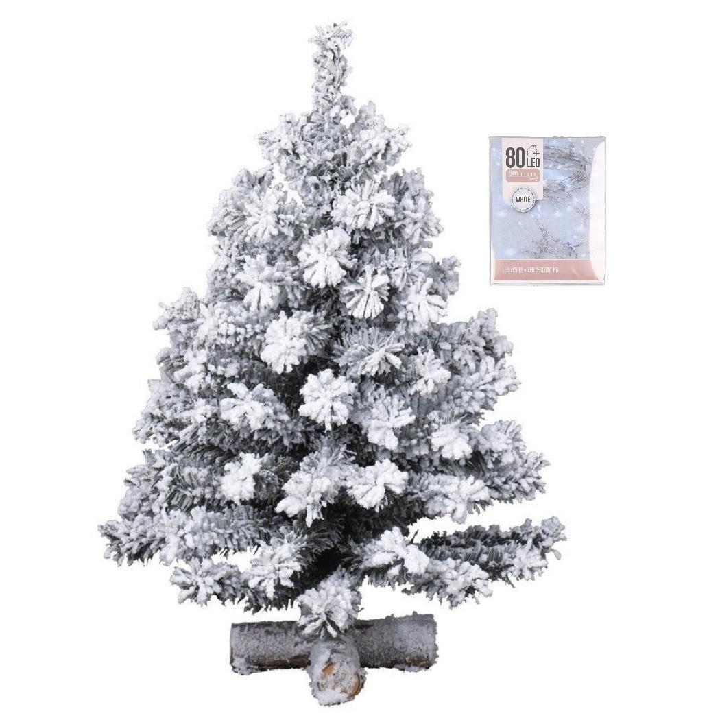 Kunst kerstboompje groen met sneeuw 60 cm inclusief helder witte kerstverlichting