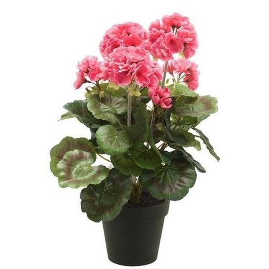 Kunstplant Geranium roze in zwarte pot 35 cm