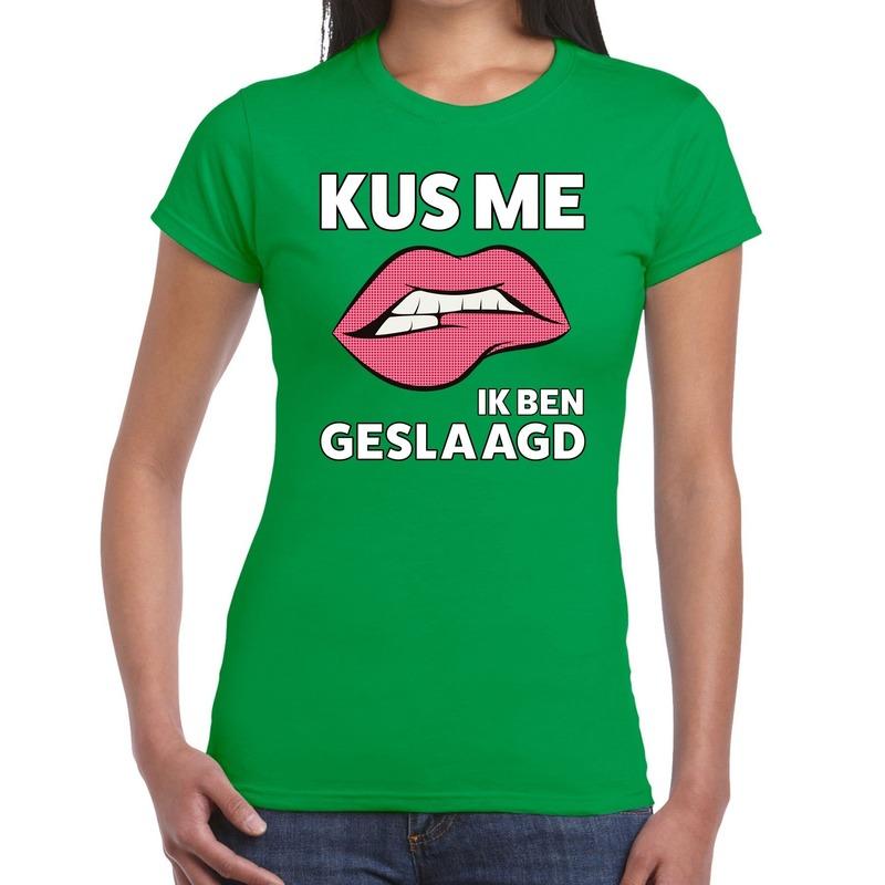 Kus me ik ben geslaagd t-shirt groen dames