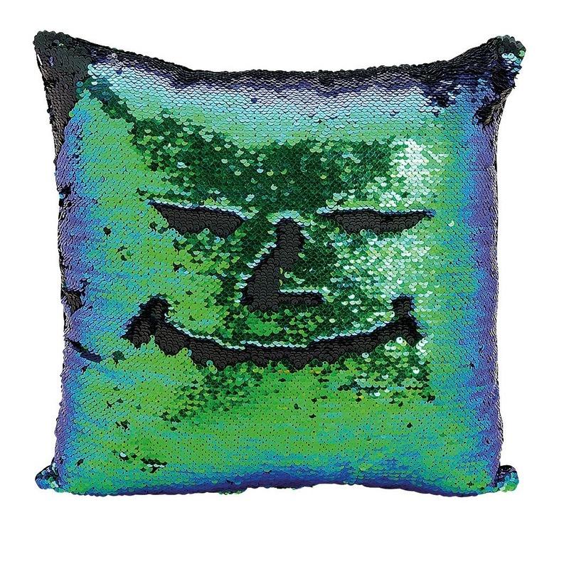 Kussen blauw/groen metallic met pailletten 40 x 40 cm
