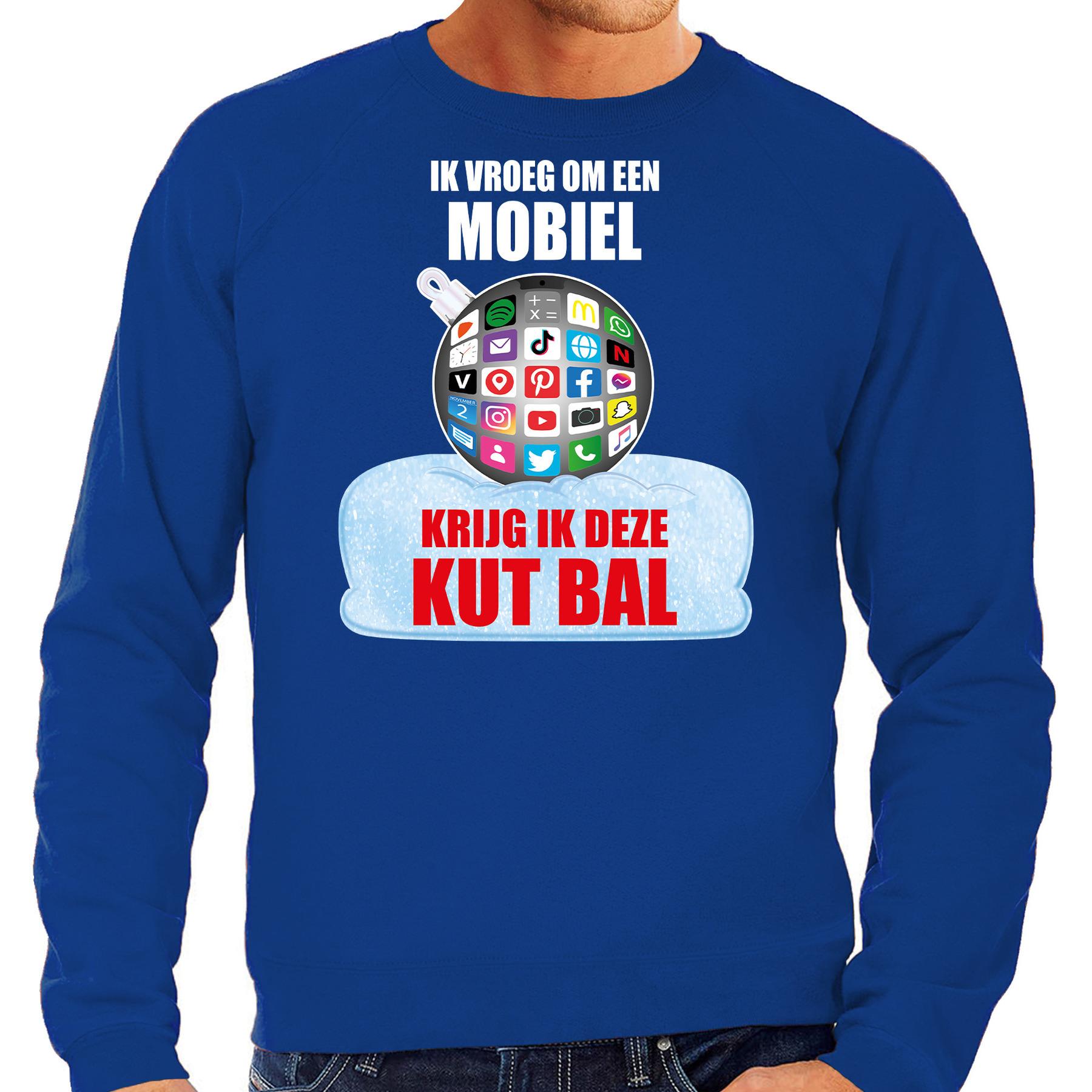 Kut Kerstbal Kersttrui - Kerst outfit Ik vroeg om een mobiel krijg ik deze kut bal blauw voor heren