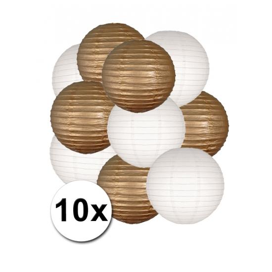 Lampionnen pakket goud en wit 10x