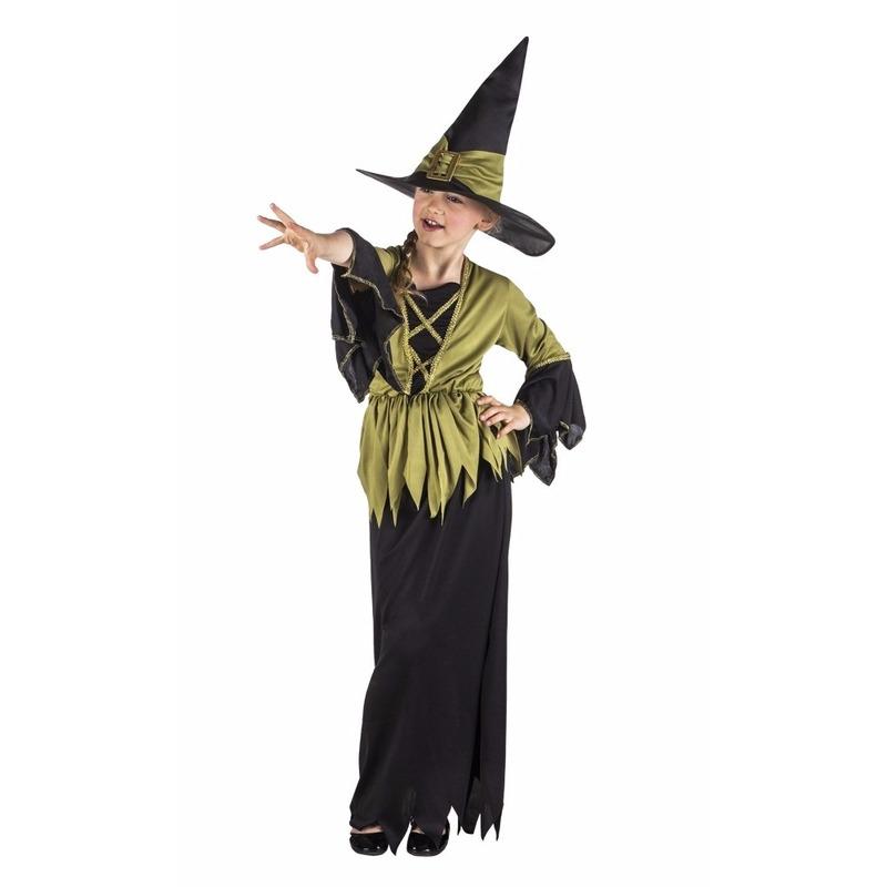 Lange heksenjurk zwart/groen voor meisjes
