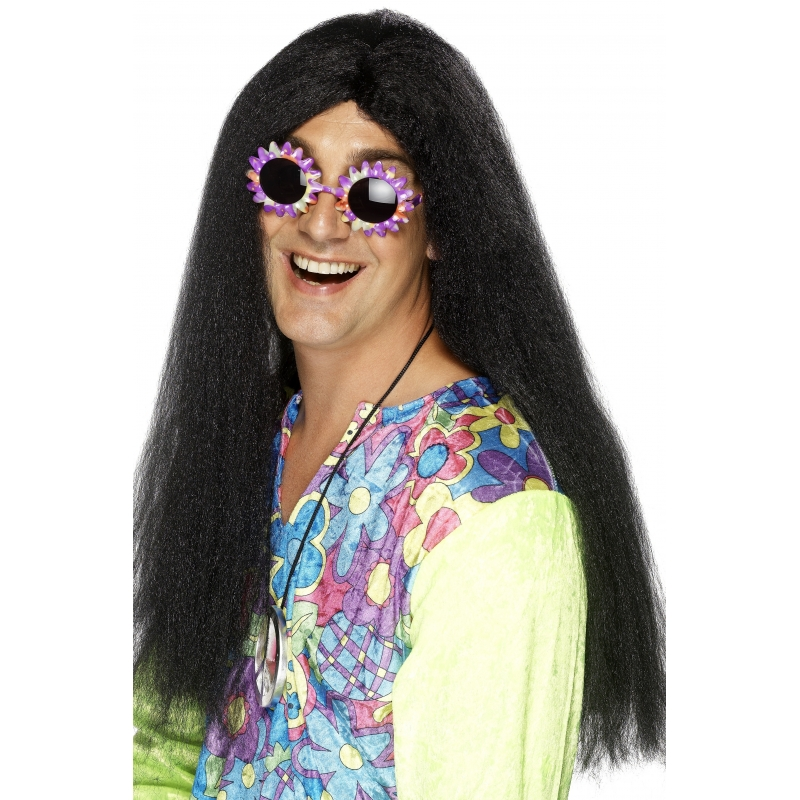 Lange hippie heren pruik