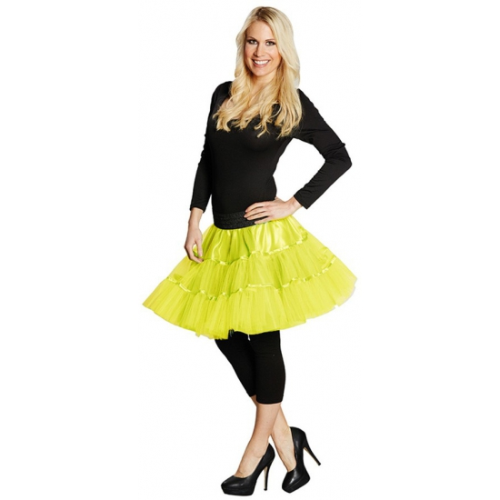 Lange tule petticoat dames neon geel