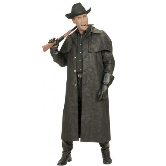 Lange zwarte cowboy jas verkleed kostuum
