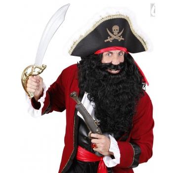 Lange zwarte piraten baard verkleed accessoire
