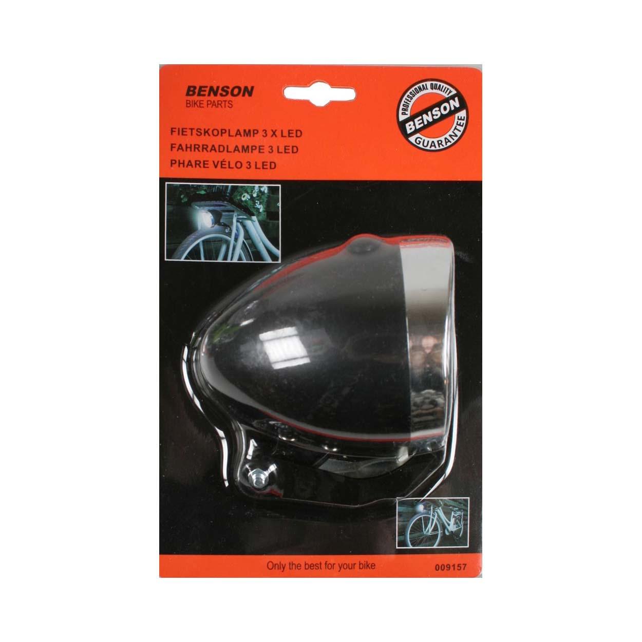 LED fiets koplamp op batterijen Zwart