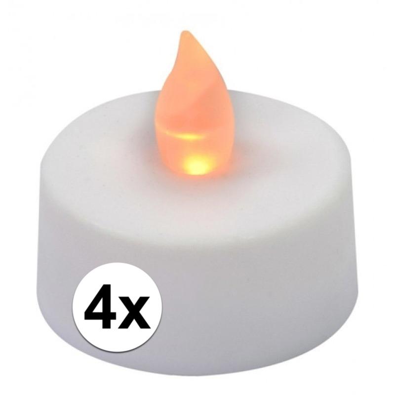 LED theelichten-waxinelichten wit 4 stuks