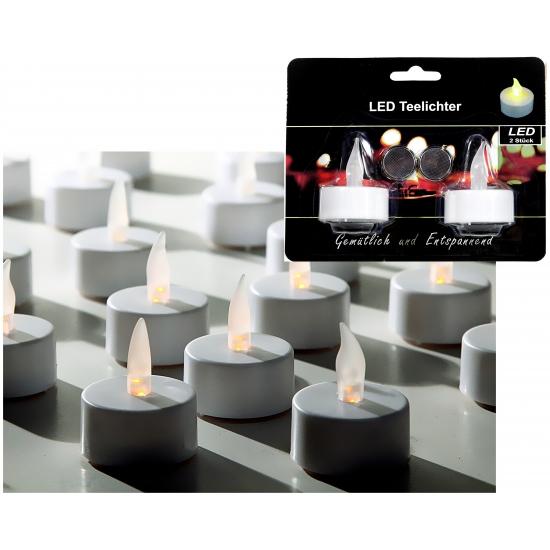 LED theelichtjes/waxinelichtjes wit 2 stuks