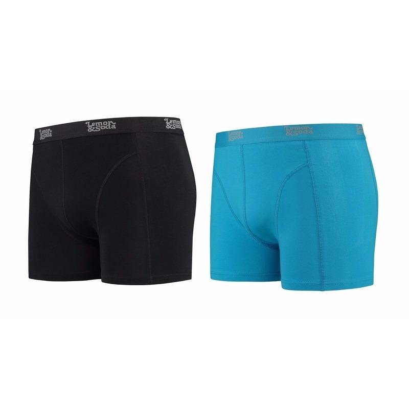 Lemon and Soda boxershorts 2-pak zwart en blauw M