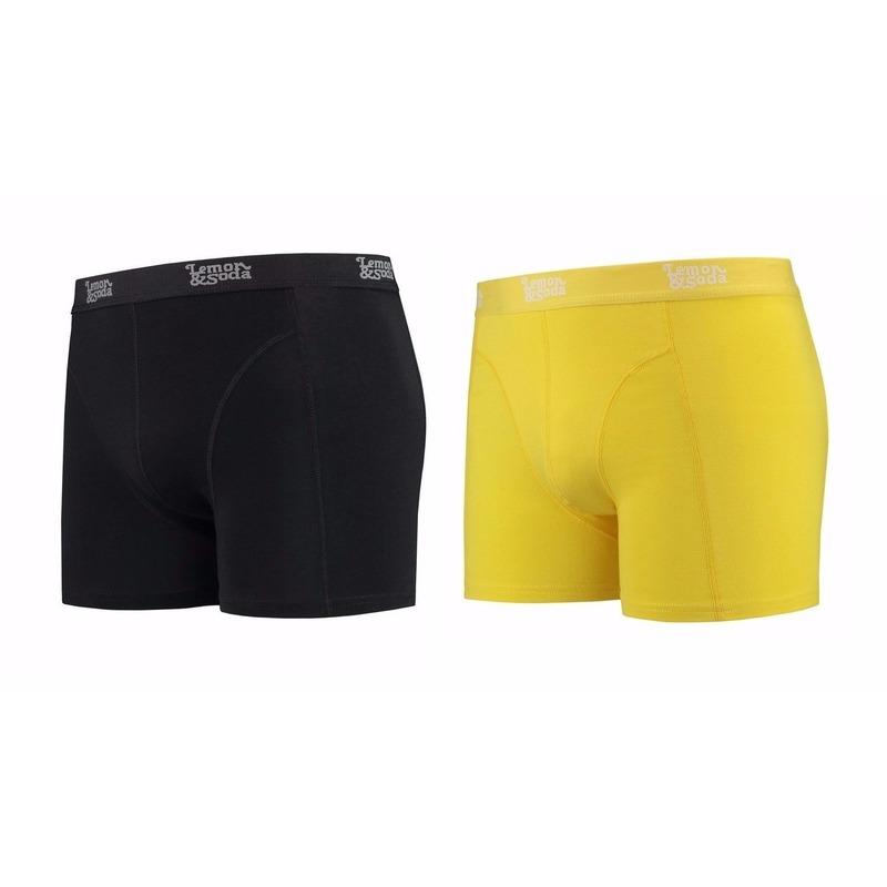Lemon and Soda boxershorts 2-pak zwart en geel S