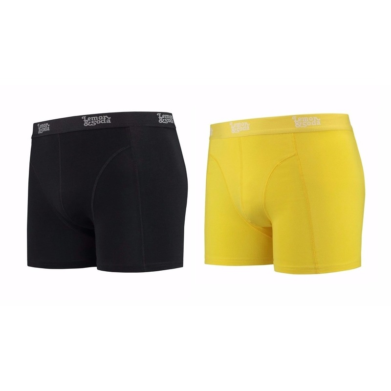 Lemon and Soda boxershorts 2-pak zwart en geel XL