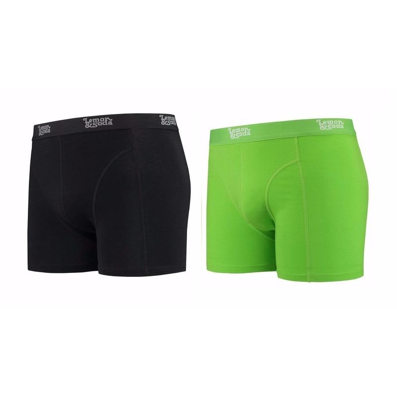Lemon and Soda boxershorts 2-pak zwart en groen S