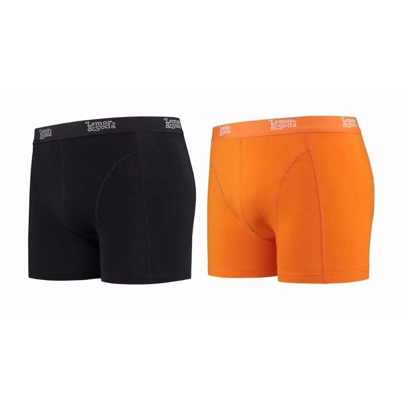Lemon and Soda boxershorts 2-pak zwart en oranje M