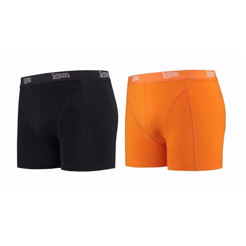 Lemon and Soda boxershorts 2-pak zwart en oranje S