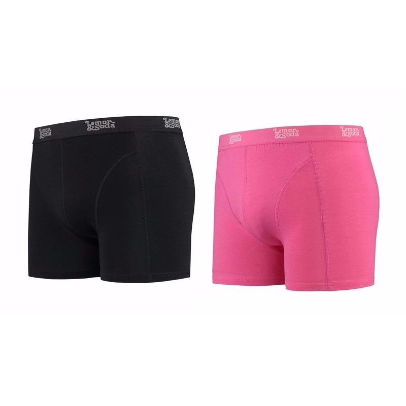 Lemon and Soda boxershorts 2-pak zwart en roze S