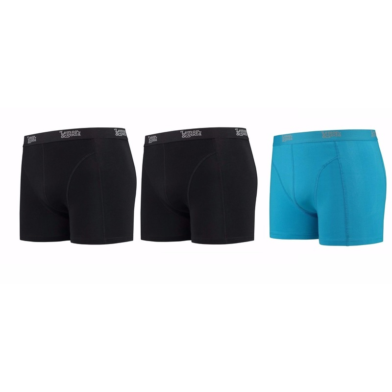Lemon and Soda boxershorts 3-pak zwart en blauw M