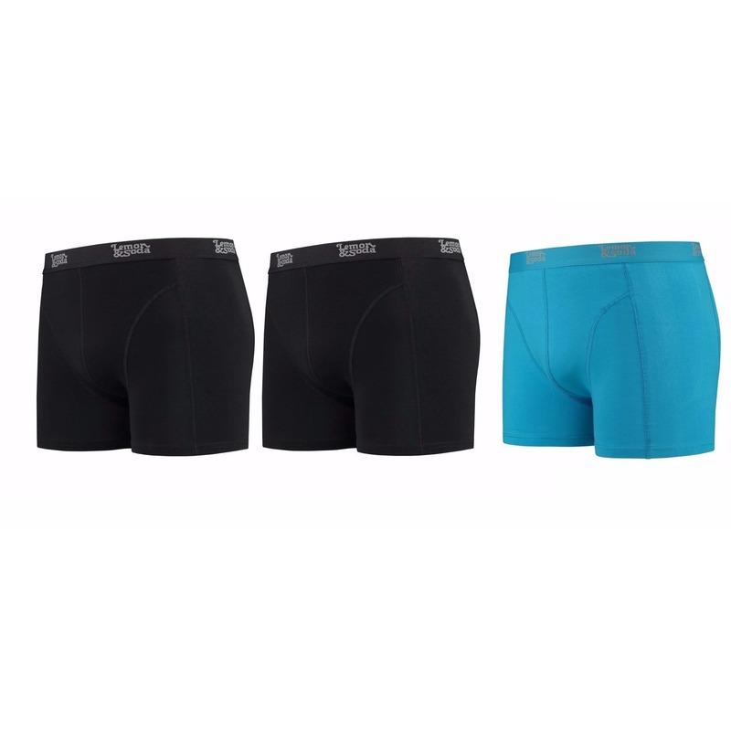 Lemon and Soda boxershorts 3-pak zwart en blauw S