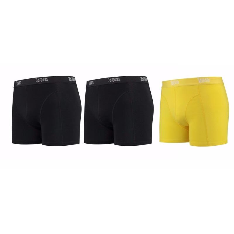 Lemon and Soda boxershorts 3-pak zwart en geel M