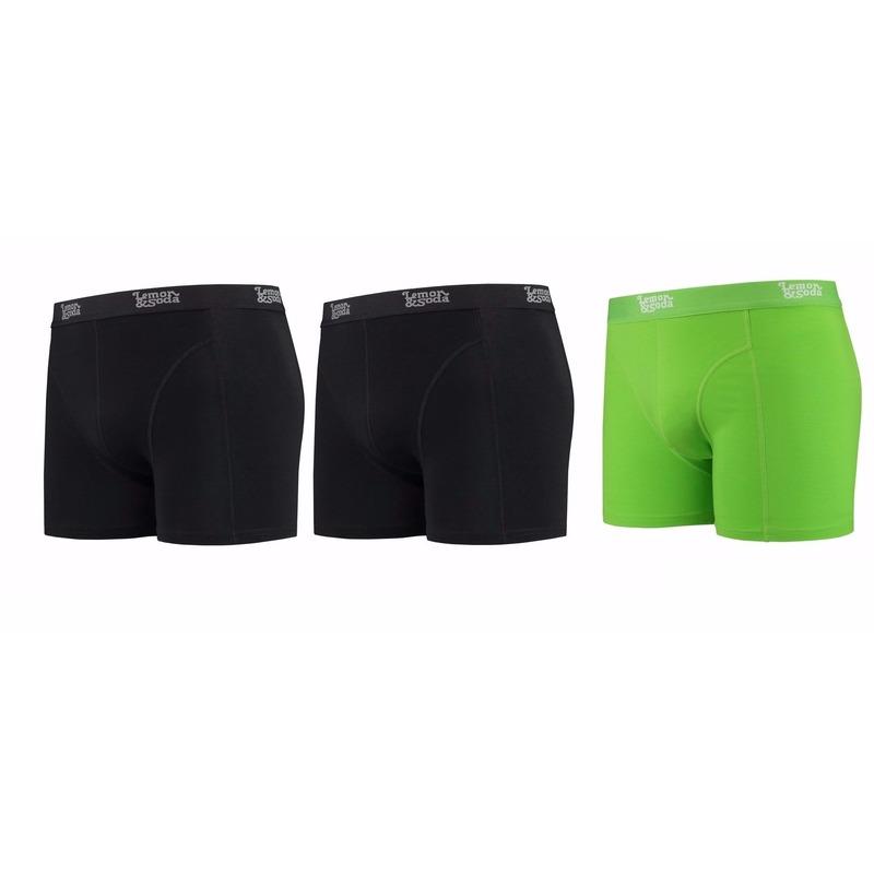 Lemon and Soda boxershorts 3-pak zwart en groen 2XL