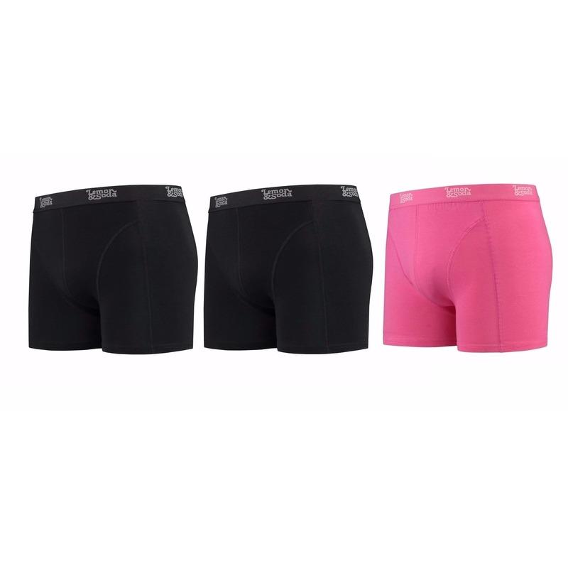 Lemon and Soda boxershorts 3-pak zwart en roze 2XL