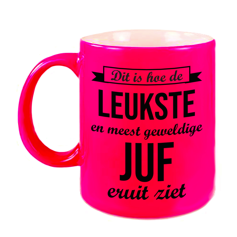 Leukste en meest geweldige juf cadeau koffiemok - theebeker neon roze 330 ml