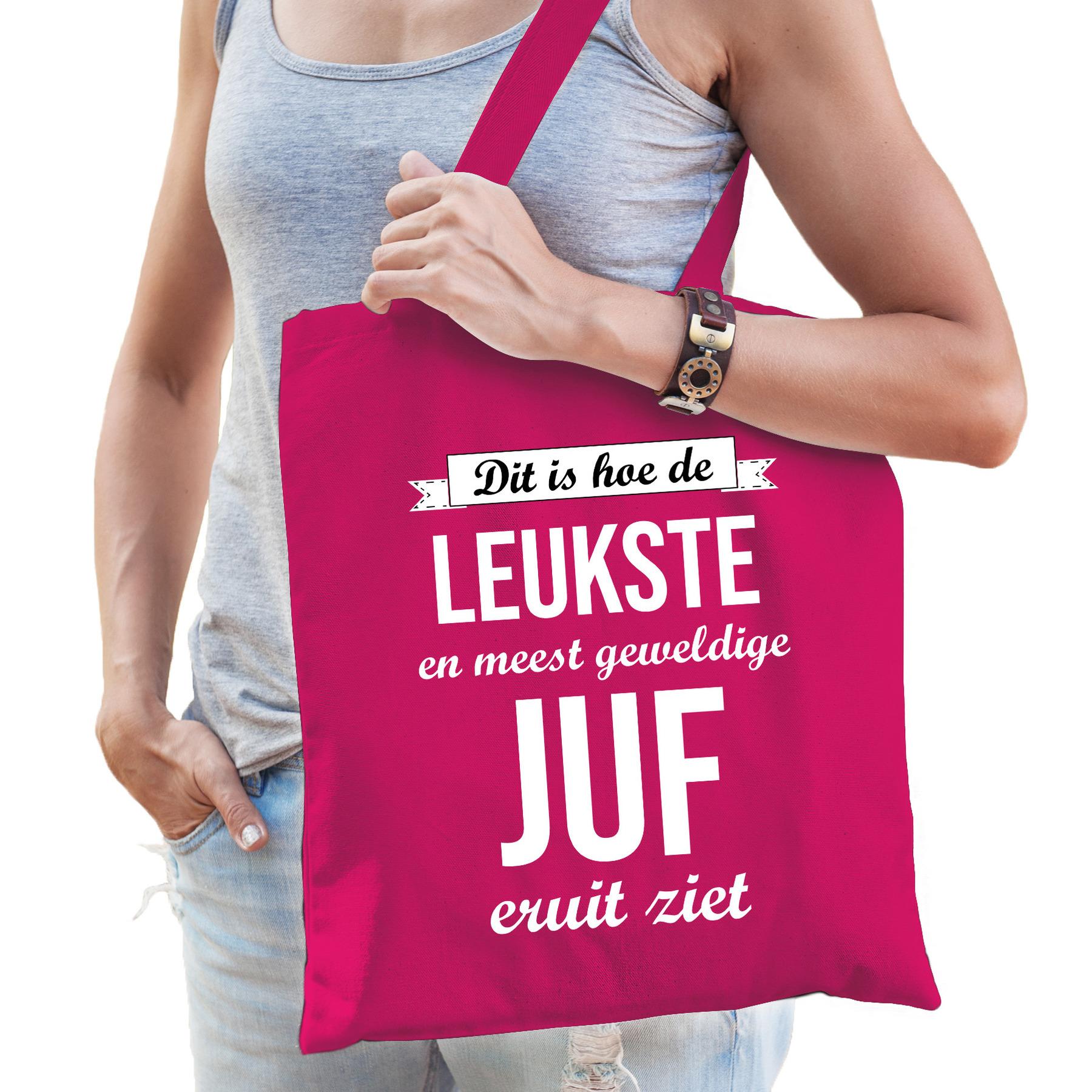 Leukste juf katoenen cadeau tas roze voor dames