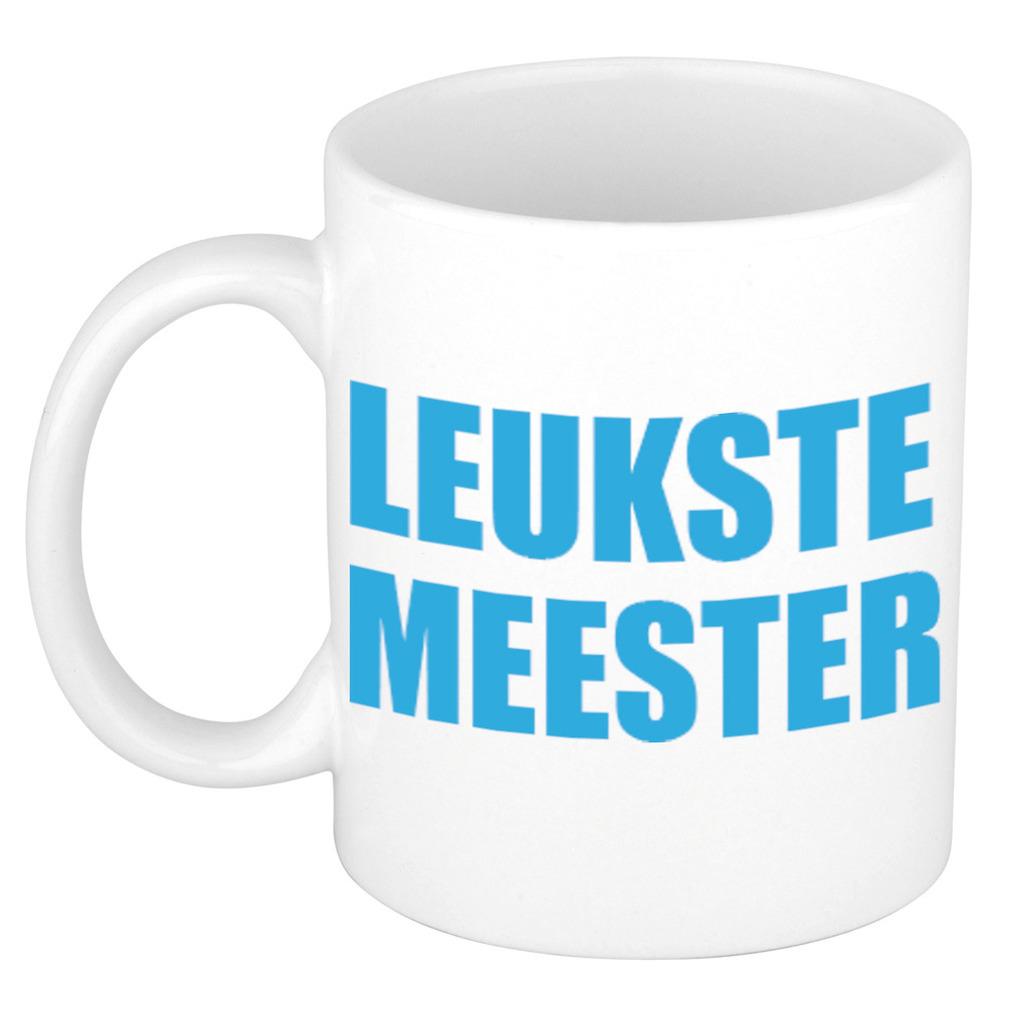 Leukste meester cadeau koffiemok - theebeker blauwe blokletters 300 ml