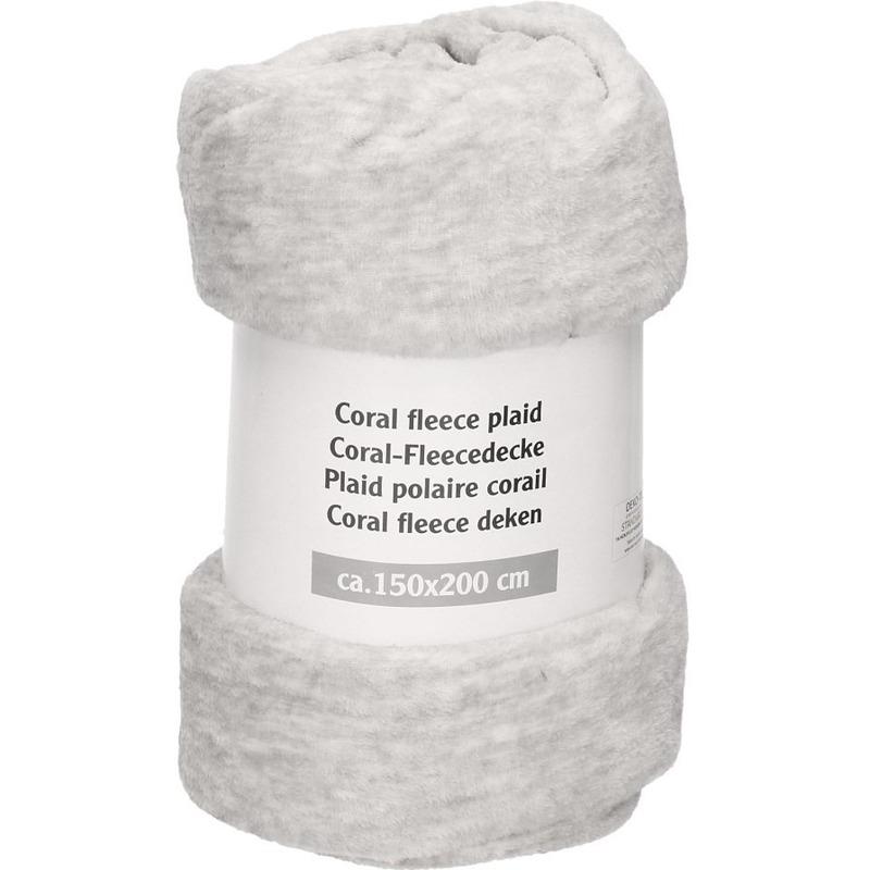 Licht grijs gemeleerde fleece deken 150 x 200 cm