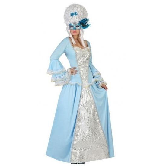 Lichtblauw/witte jonkvrouw verkleed jurk voor dames