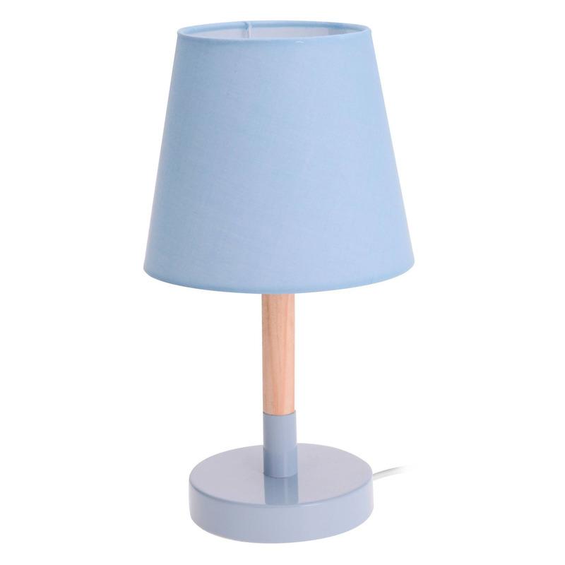 Lichtblauwe tafellamp/schemerlamp hout/metaal 23 cm