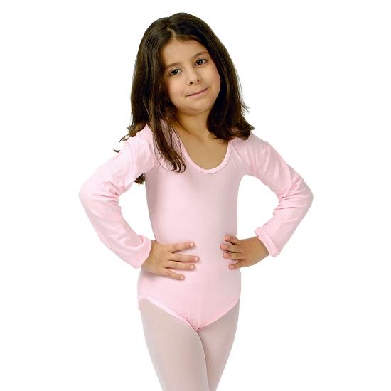Lichtroze verkleed bodysuit lange mouwen voor meisjes