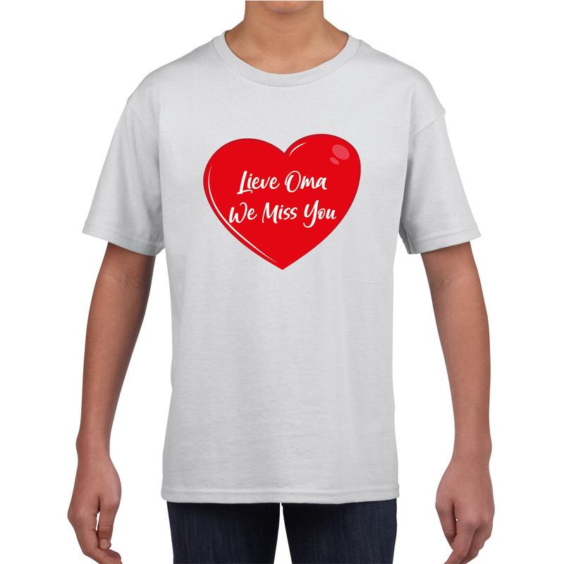 Lieve oma we miss you t-shirt wit voor kinderen