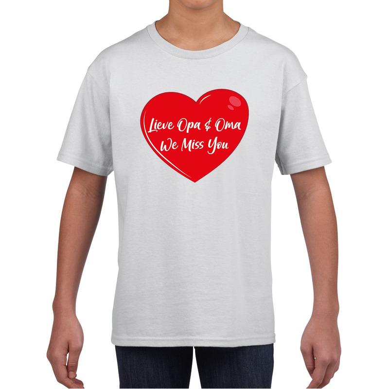 Lieve opa en oma we miss you t-shirt wit voor kinderen
