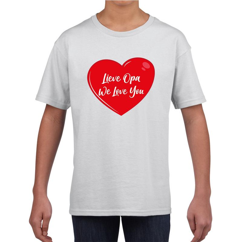 Lieve opa we love you t-shirt wit voor kinderen