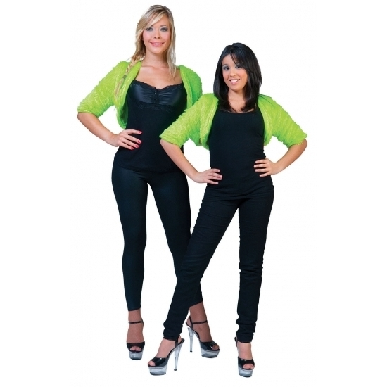 Lime groene bolero bontjasje voor dames