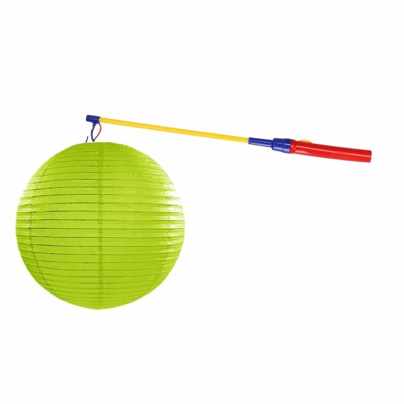 Lime groene lampion 35 cm met lampionstokje