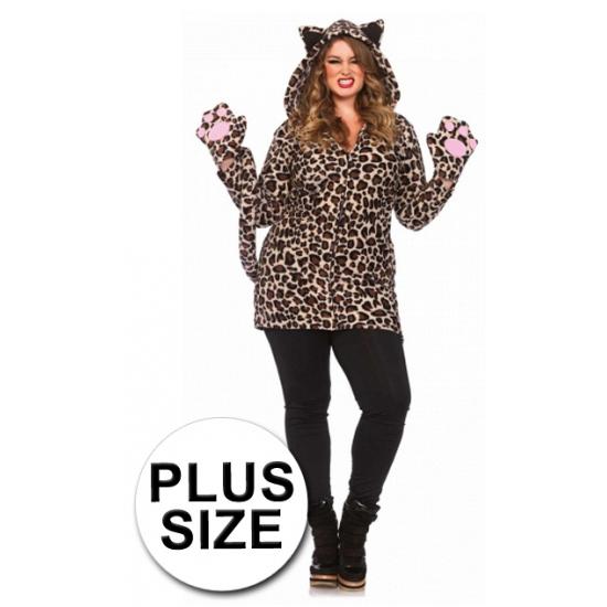 Luipaard jurk met handschoenen grote maten