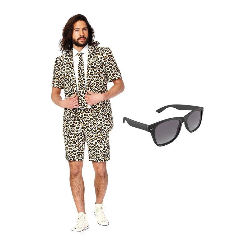 Luipaard print zomer kostuum maat 50 (L) met gratis zonnebril