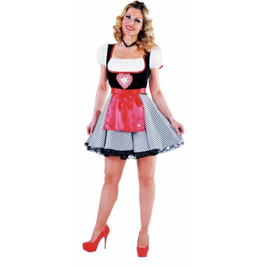 Luxe dirndl zwart/rood voor dames S - Carnavalsjurken