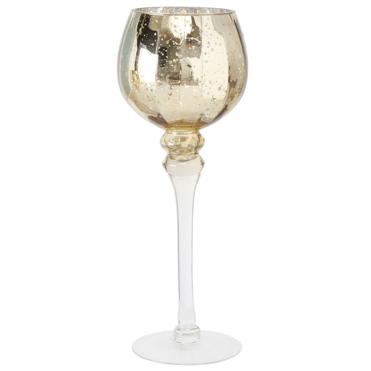 Luxe glazen design kaarsenhouder-windlicht metallic goud transparant 35 cm