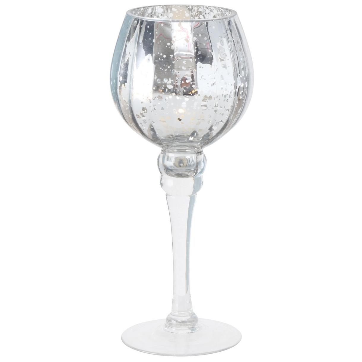 Luxe glazen design kaarsenhouder-windlicht metallic zilver transparant 25 cm