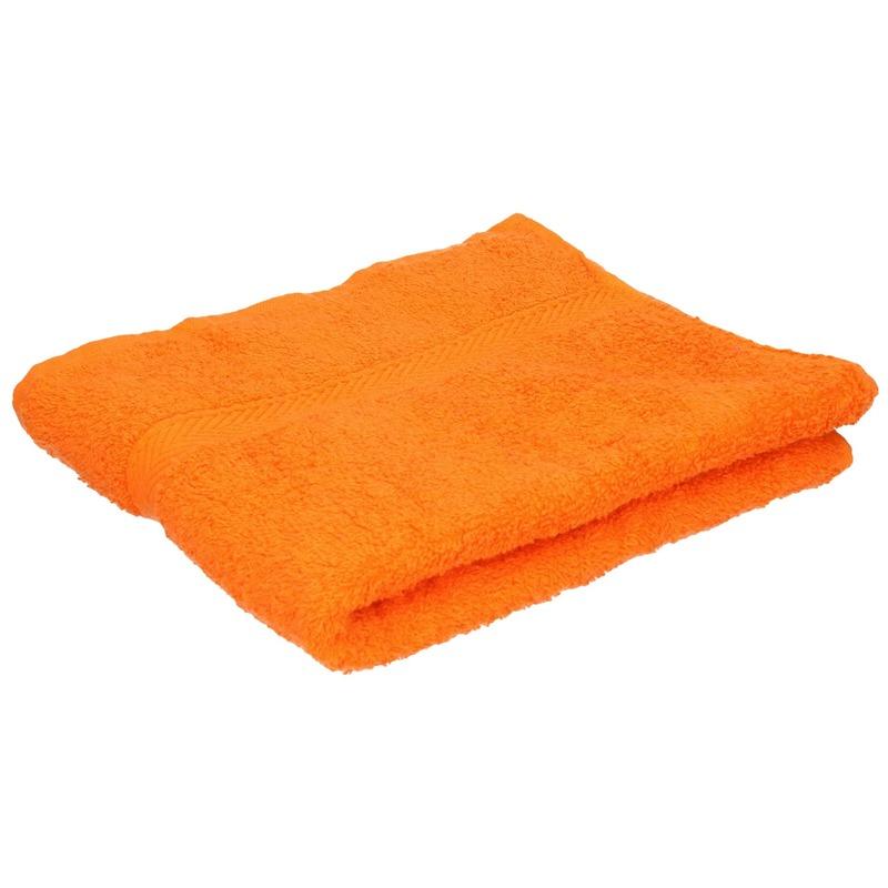 Luxe handdoek oranje 50 x 90 cm 550 grams