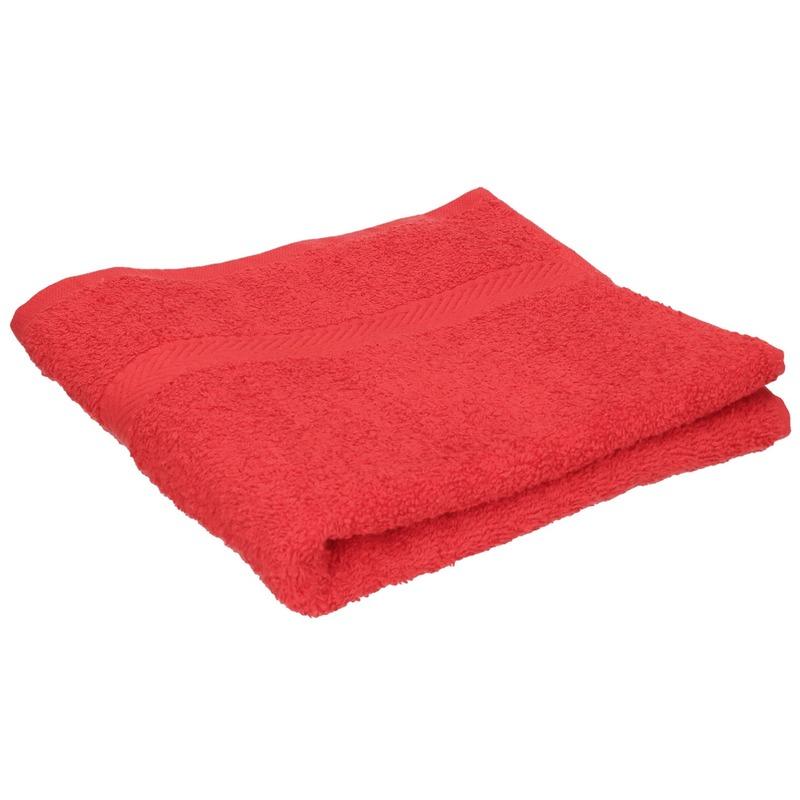 Luxe handdoek rood 50 x 90 cm 550 grams