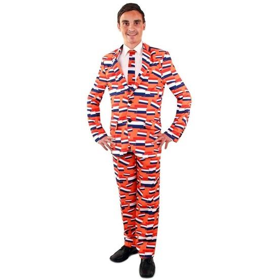 Luxe heren kostuum oranje vlag Nederland print voor heren