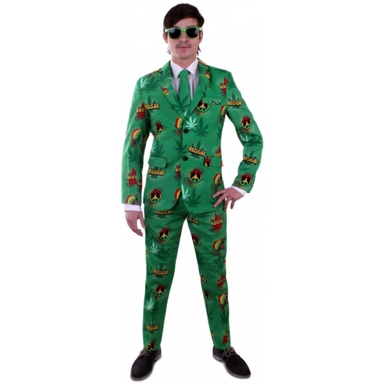 Luxe heren kostuum Rasta print