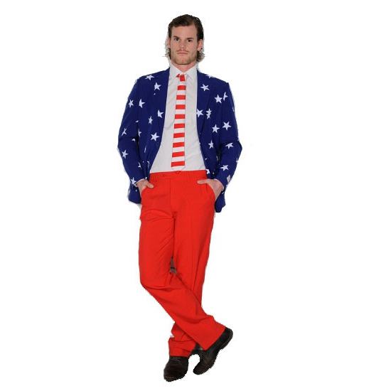 Luxe heren pak met Amerikaanse/USA vlag print