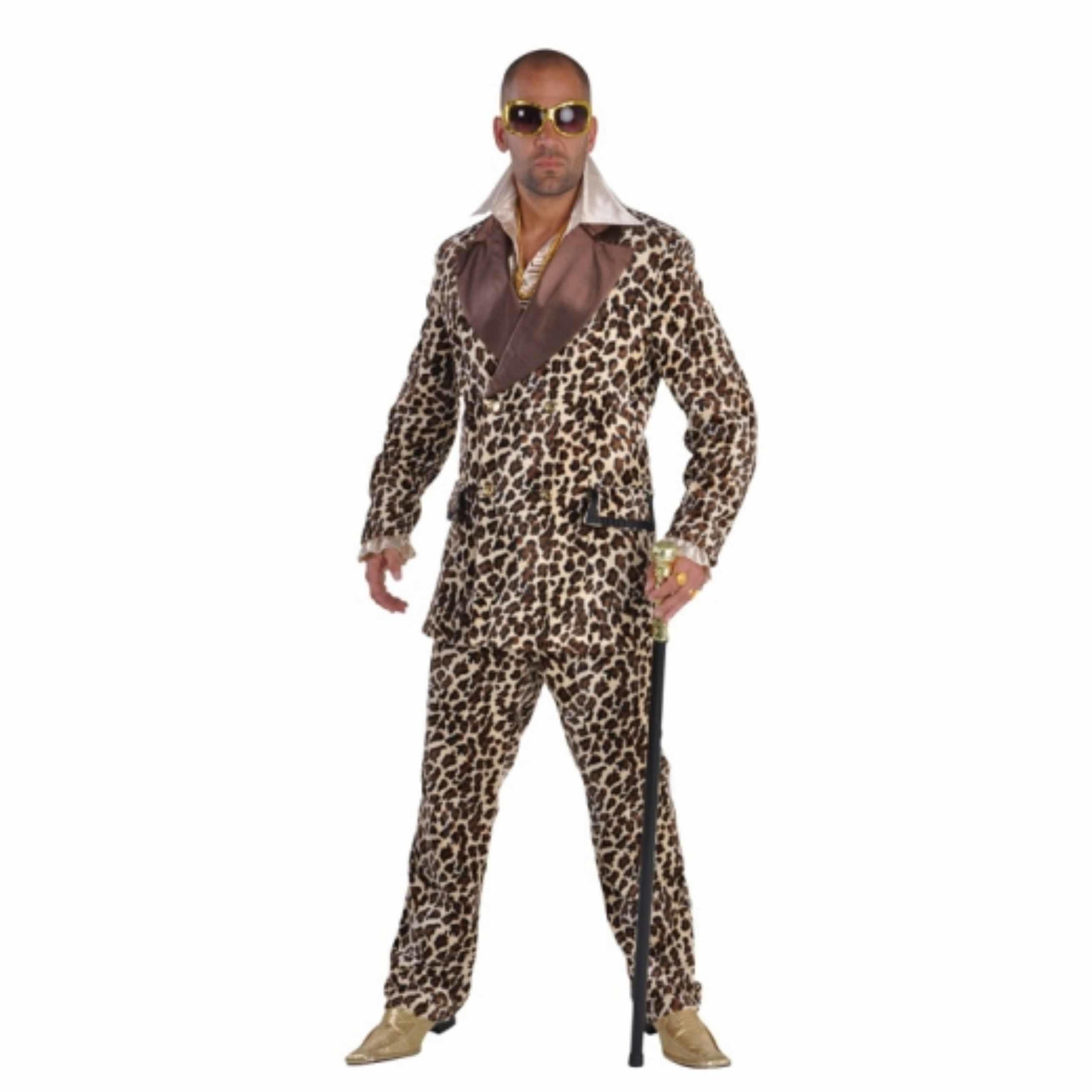 Luxe pimp kostuum met luipaardprint