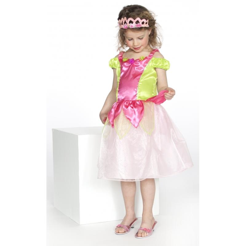 Luxe prinses jurkje roze/groen